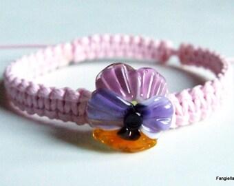 Pink flower bracelet multicolored glass Lampwork on macrame waxed cotton