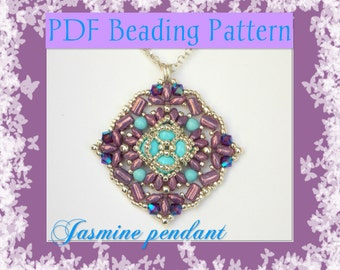 DIY Beading pattern Jasmine pendant with superDuo beads and rullas beads / PDF tutorial with detailed instructions, images and diagrams