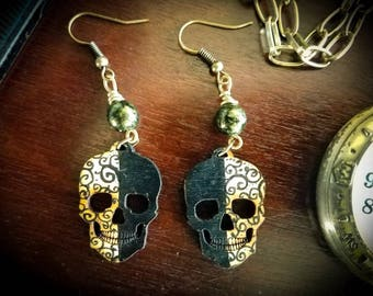 Spiral Two face Skull Earrings,CLOSEOUT,ON SALE,Gothic,Wood,Hand painted skull,Swirl Jewelry,Skull Earrings,Gothic,Dangle Earrings,Two-Toned