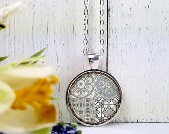 Tiles 1-Medium Round- Glass Bubble Pendant Necklace
