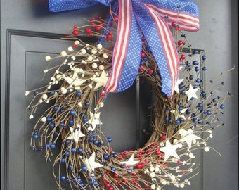 SPRING WREATH SALE July 4th Decor, Fourth of July Wreath, July 4th Berry Wreath, Americana Patriotic Wreath, Americana Decor, Rustic Wreath,