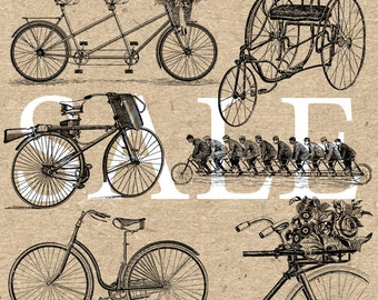 Bike Bicycle Collection Instant Download Digital printable vintage clipart  graphic for stickers scrapbooking decor prints HQ 300dpi