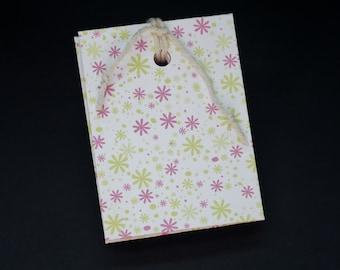Rosa y verde Colorburst, reciclado, reciclado de notas, Bloc, jotter, mini notebook, sin forro páginas, tamaño bolsillo, planificador, para hacer listas