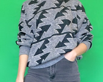 Vintage 90s 80s Gray and Black Geometric Long Sleeve Pull Over Knit Sweater