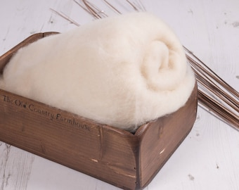Woolly Sheep coloured Rustic Wool Layer Fluff, Newborn prop, basket stuff, blanket or wrap. Organic soft versatile look.
