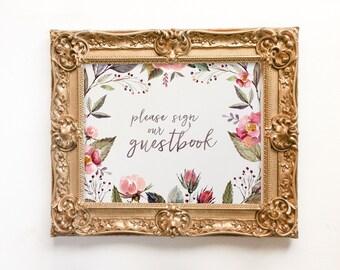guest book sign wedding printable, printable guest book sign, blush wedding guest book, coral, watercolor, floral wedding decor, digital