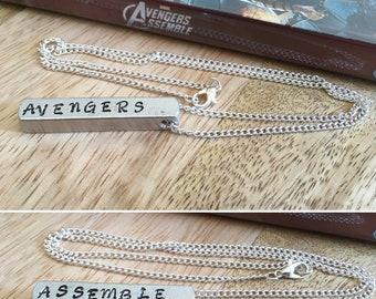 Marvel Avengers Assemble handstamped aluminium bar necklace pendant