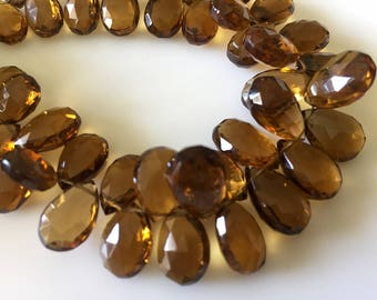 Natural AAA Lemon Quartz Faceted Pear Shaped Briolette Beads, 10x14mm To 7x11mm Beer Quartz Beads, 9 Inch Full Strand Gds792