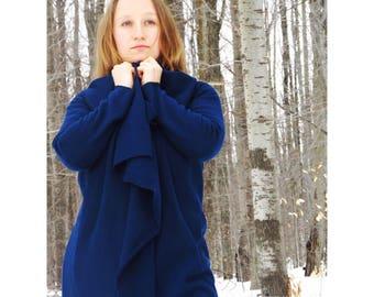 Narnia ~ Hemp Fleece Full Length Wrap Coat - Organic Fabric - Choose Your Color -Handmade to Order in USA by Rowan Grey - Fall Eco Fashion