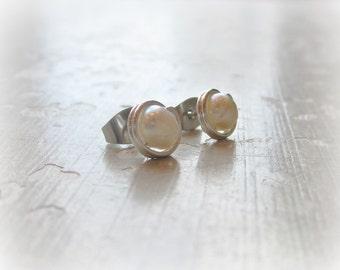 Natural Pearl Earrings, Sterling Stud Earrings, White Pearl Posts, Freshwater Pearl Earrings, Small Post Earrings, Silver Post Earrings