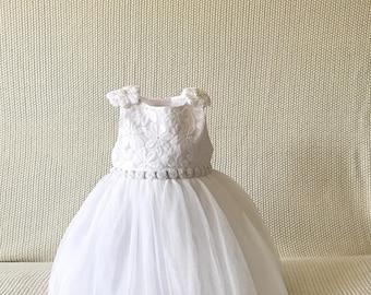 Swarovski and beads dress, white bqprism dress,baptism dress,wedding baby dress,christening dress,white tulle dress,tulle baby dress,flower