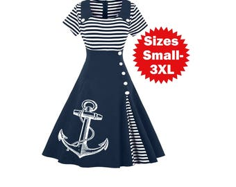 Nautical Anchor Dress Plus Size Clothing Striped Anchors Sailor dresses ladies apparel Screen Print Cute Vintage clothing Pin Up