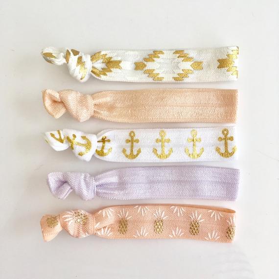 hair tie bracelets, party favours, hair accessories, nautical accessory, beach bracelets, mermaid friendship bracelets, bridesmaid gift