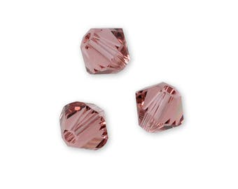 Set of 20-50 or 100 4 mm blush pink Swarovski Crystal beads (light pink / dusty rose)-Ref: 2398