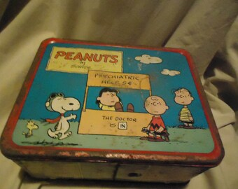Vintage 1973 Peanuts Lunch Box With No Thermos, Lunchkit, collectable