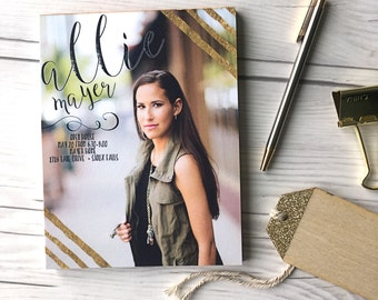 Graduation Tear Off Invitations  · Gold Foil Graduation Party Announcement · photos printed on notepads