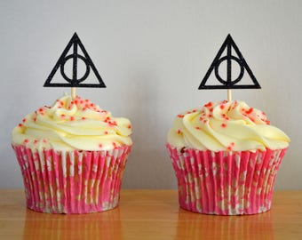 Deathly Hallows Cupcake Topper/ Pack of 6/ Harry Potter Cake Toppers/ Black HP Cupcake Decoration