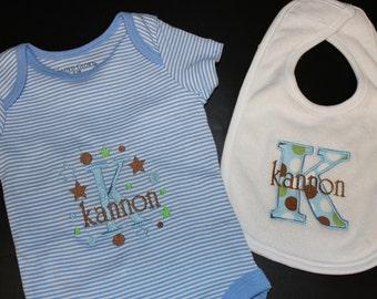 Baby Bib Applique and Onesie Creeper bodysuit Blue Stripe Pesonalized B117