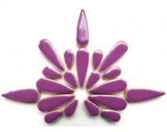 "Pretty Purple Glazed Ceramic TEARDROPS Mix (1"" & 1/2"") Flower Petals/Mosaic Craft Supplies"