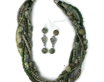 Green Rainforest Jasper Necklace Set
