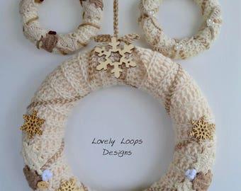 Crochet Christmas Wreath Set