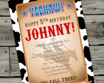 Cowboy/Cowgirl Birthday Invitation - PRINTABLE DIY