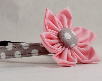 Cat Collar or Kitten Collar with Flower - Gray Polka Dots