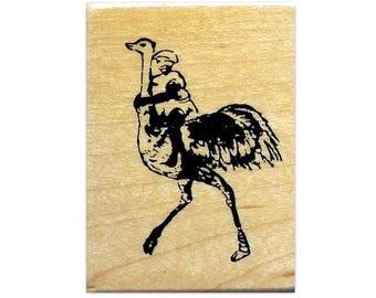 Ostrich Jockey African unmounted rubber stamp, bird rider, Africa, person, Sweet Grass Stamps No.17