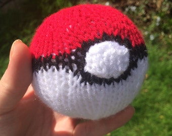 knitted pokeball pattern pokemon stuffed toy plushie knitting toy handmade fun toy