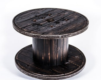 Cable Drum Coffee Table Flamed