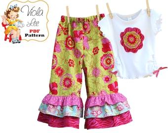Girl's Ruffle Pants Pattern, Toddler Sewing Patterns, Toddlers PDF Sewing Patterns. Toddler Pants Pattern, Girl's pdf Sewing Patterns. Emma
