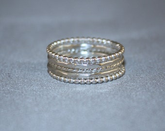 5 Skinny Argentium Sterling Silver Stacking Rings, Custom made