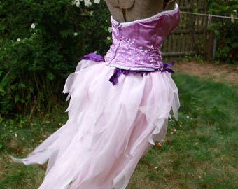SALE Adult Fairy Costume Size 16 Purple Silk Satin Hand Dyed Priscilla for Cosplay, Alternative Weddings and Festivals, Burning Man, Cons