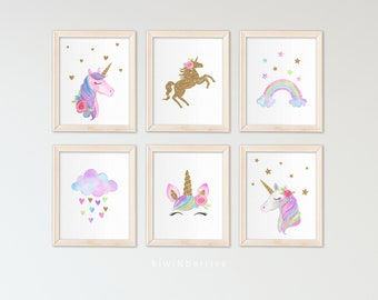 Unicorn wall art set Printable unicorn art Girls room decor Unicorn gold glitter Unicorn prints Pink blush lilac gold cloud rainbow  sc 1 st  Etsy & Girls room decor | Etsy