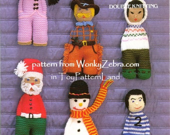 Knitted Knit Knitting dolls Pattern Patterns emailed PDF 528 from WonkyZebra