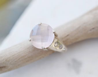 Sterling Silver Rose Quartz and CZ Gemstone Ring, Rose Quartz Ring, Rose Quartz Jewelry, Sterling Silver Pink Quartz Ring, Trendy Ring