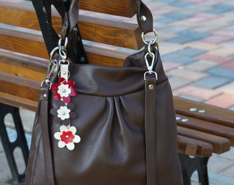 Brown Leather BUCKET BAG, Leather Tote Bag, Leather Shoulder Bag,Soft Leather Purse, Leather Bucket Purse, Leather Bucket Tote