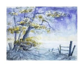Watercolor landscape, tree, original watercolor painting, watercolor on paper, wall art, landscape