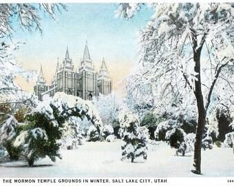 Vintage Mormon Temple Grounds, Salt Lake City, Uta, Blank Never Sent