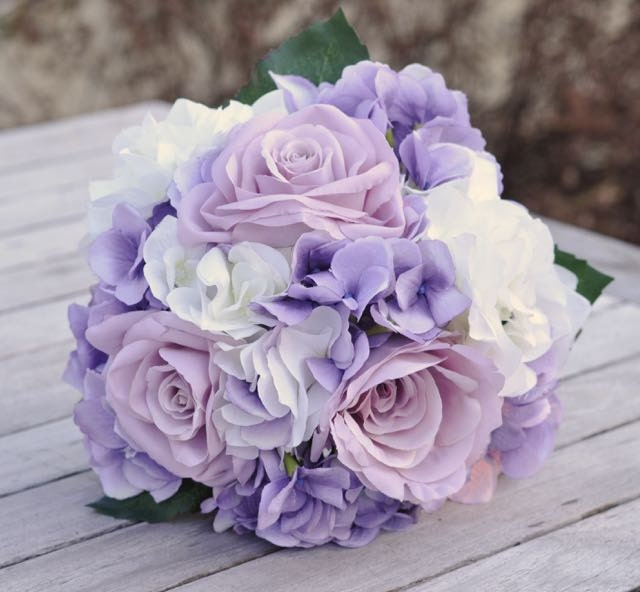 Silk Wedding Flower Bouquet made with Lavender Roses Lavender