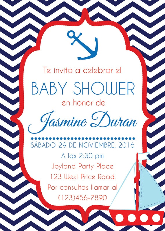 Exceptional Nautical Baby Shower Invitation. Navy Babyshower Invite. Printable. Invitacion  Babyshower