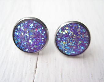 Purple resin druzy stud earrings, purple studs, purple earrings, purple faux druzy, 13mm purple stud, iridescent purple, purple resin studs