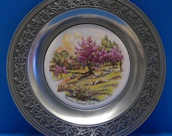 Vintage Currier And Ives American Homestead Spring Pewter & Ceramic Plate