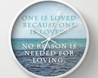 One Is Loved, Photo Wall Clock, Typogaphy Clock, Retro Wall Clock, Home Decor, Round Clock, Beach Clock, Home Accessories,Interior Design