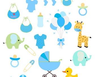 Baby Boy Clip Art Set, Blue Baby Shower, Baby Boy Shower, Scrapbook Invitation Baby Shower, Blue Baby Clipart, Nursery Clip Art