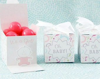 Baby Favor Boxes - It is a GIRL - Gender reveal - Baby Shower - Cupcake Boxes - Party Supplies - 10 pcs