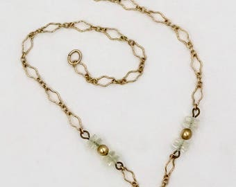 Vintage PUFFY HEART NECKLACE Unsigned Pididdly Links Style Antiqued Brass Puffy Heart & Glass Bead Necklace