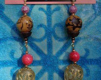 Art nouveau pink dangle earrings