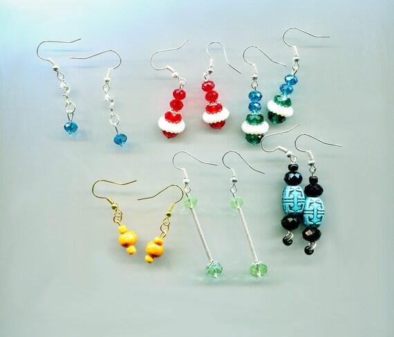 6 pr bead drop dangle earrings lot plastic glass beaded handmade jewelry blue red green wholesale lots