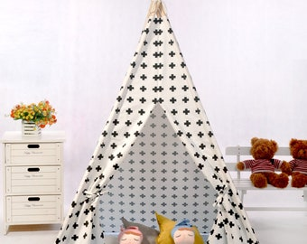 Black cross teepee,canvas teepee tent,teepee kids,indian playtent,kids tipi,tipi tent,kids fort